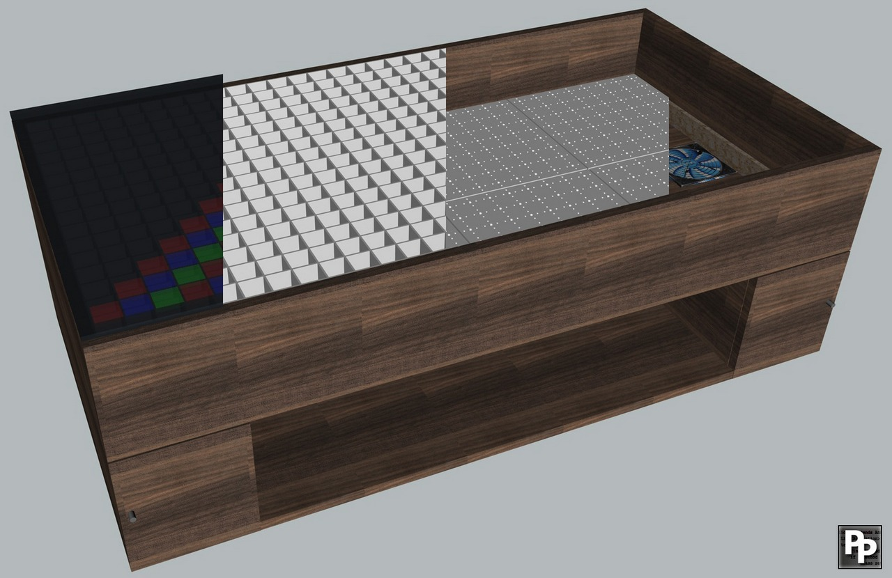 Howto waste your spare time build a 512 rgb led coffee table programmers 39 pain Led coffee table