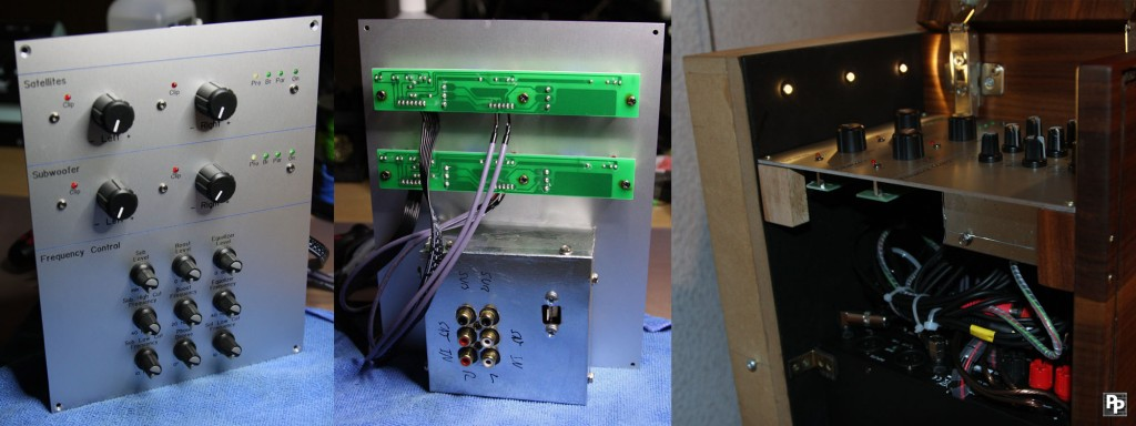 Some different views of the front panel of the technical compartment containing all sound related hardware
